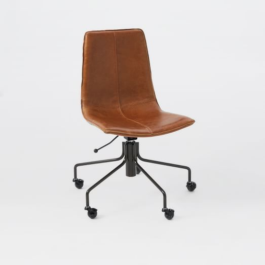 Delightful Slope Office Chair, Leather, Old Saddle Nut