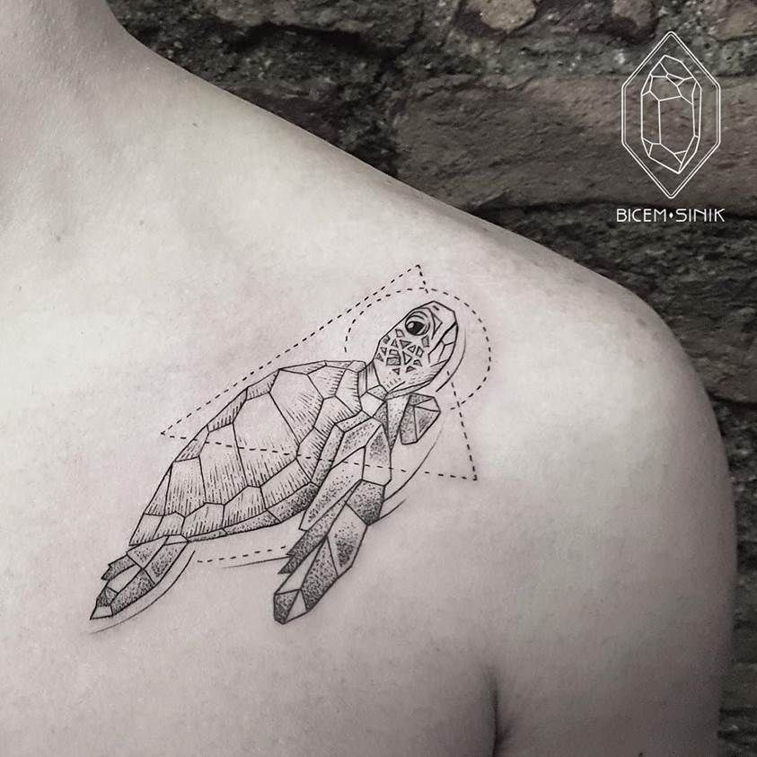 Turtle tattoo by artist bicem sinik tattoo pinterest les tortues tortue et tatouages - Signification tortue tatouage ...