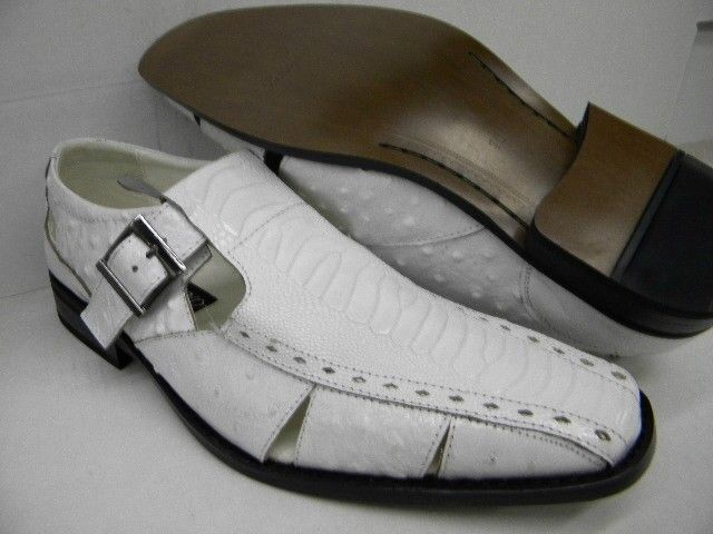 La Milano White Leather Crocodile Print Closed Toe Sandals S9080 Size 8.5 and 9 Only
