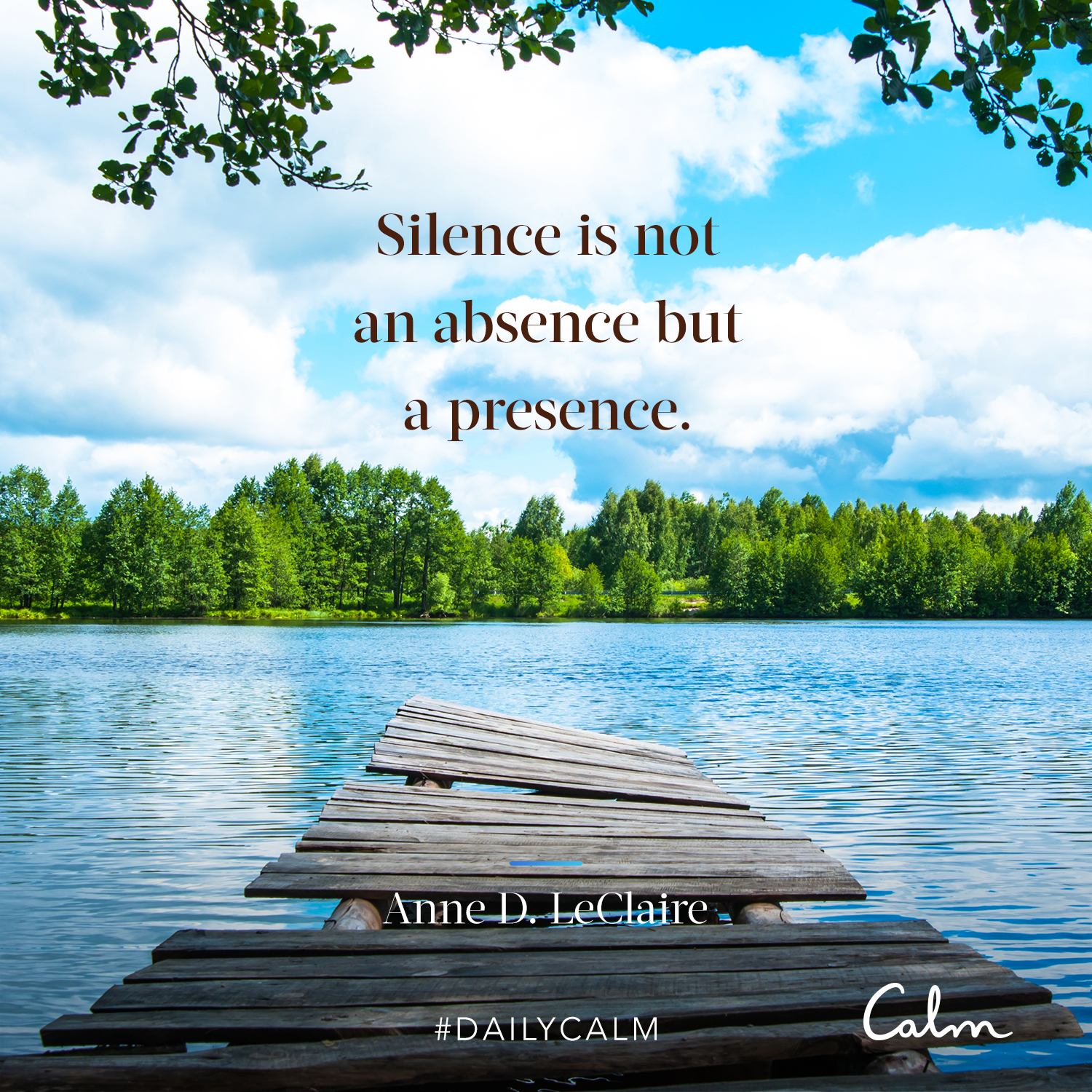 Daily Calm Quotes Silence Is Not An Absence But A Presence Anne D Leclaire Peaceful Place Quotes Daily Calm Calm Quotes