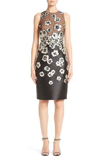 Carmen Marc Valvo Couture Floral Appliqué Sheath Dress | Nordstrom ...