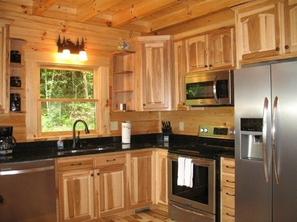 Hickory kitchen cabinets wood kitchen wall cabinets for Black kitchen walls