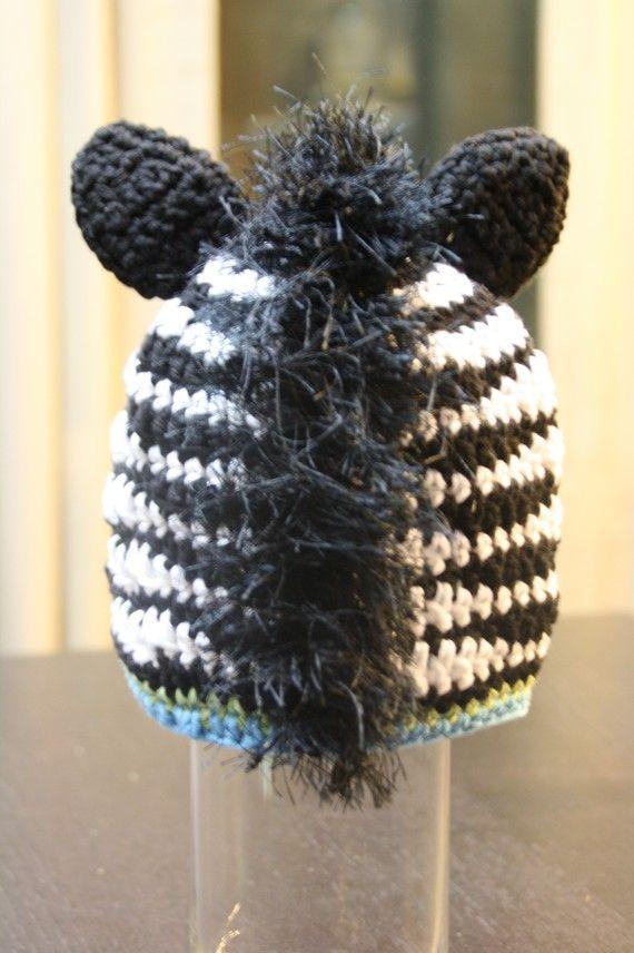 Crochet Zebra Hat Pattern, Mohawk Mane Beanie, ZOEY and ZANE ZEBRA ...