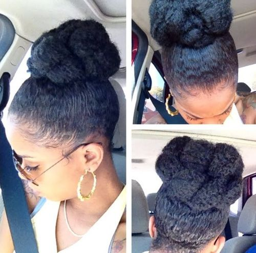 High Bun Updo Hairstyle For Black Women With Images Natural