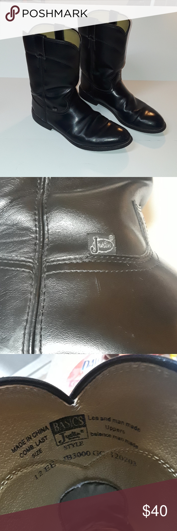 Justin men pull on boots size 12 EE in