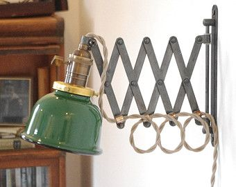Scissor Wall Lamp   Antiqued Patina Steampunk Lamp With Gas Station Green U0026  White Porcelain Enamel