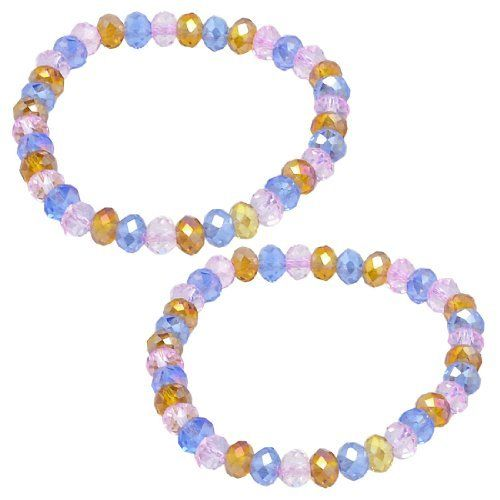 """Rosallini 2 x Lady 6mm Dia Plastic Crystal Beaded Stretch Bracelets Bangle Tri Colors Rosallini. $3.17. Each Bead Dia. : 6mm/ 0.23"""";Color : Pink, Blue, Amber. Package : 2 x Elastic Bracelet. Product Name : Bracelet;Fit for : Ladies. Weight : 16g. Material : Plastic;Flat Girth : 14cm / 5.5"""""""