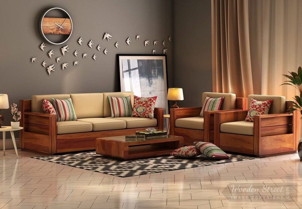 Buy Marriott Wooden Sofa 3 1 1 Set Honey Finish Online In India
