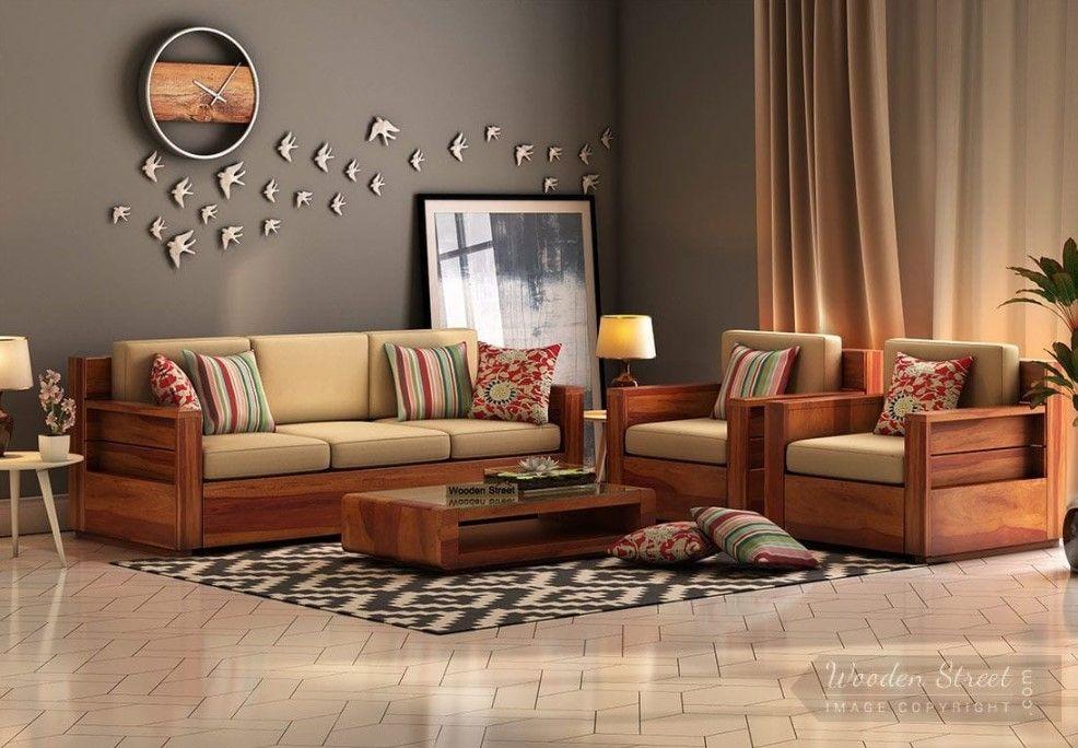 Buy Marriott Wooden Sofa 3 1 1 Set Honey Finish Online In India