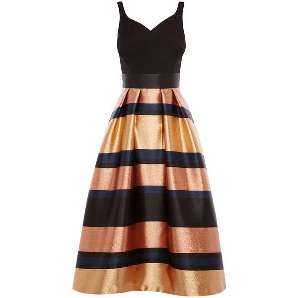 RITA METALLIC STRIPE DRESS ($100) ❤ liked on Polyvore featuring dresses, pleated dress, striped dress, striped pleated dress, full pleated skirt and striped full skirt