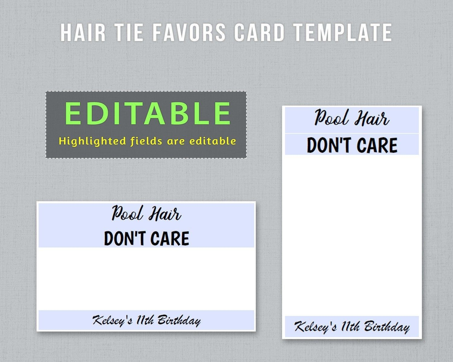 Editable Hair Tie Favors Card Template To Have And To Hold Etsy Card Template Pool Hairstyles Hair Ties