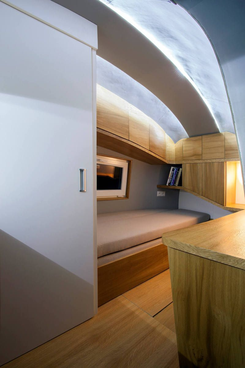 Compact bedroom area in mobile Ecocapsule cabin