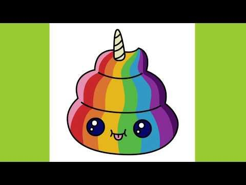 How To Draw A Unicorn Poop Cute Emoji Rainbow Coloring Youtube