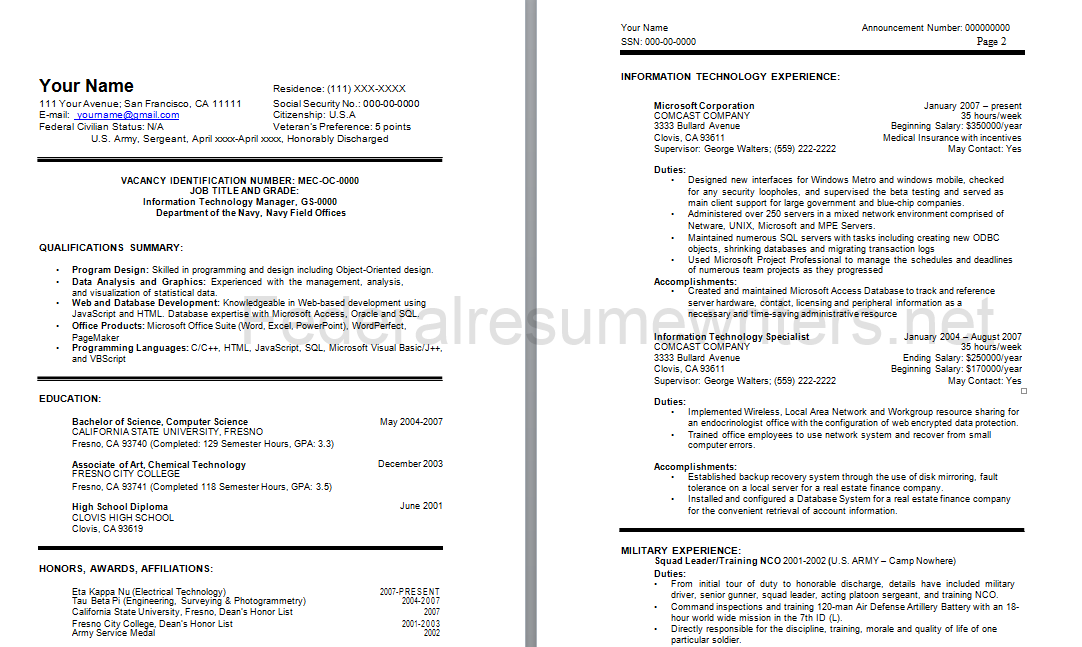 Sample Federal Resume Federal Resume Sample Httpwwwfederalresumewritersfederal