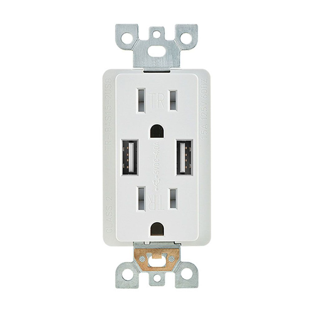 4A 5V DC Smart Wall Socket Phone Charger Dual USB Port Power Outlet ...