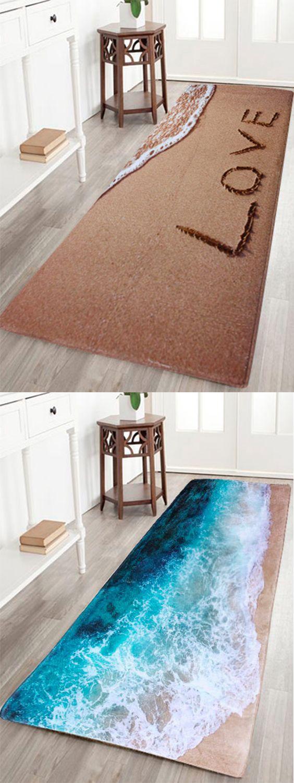 beach coral velvet soft absorbent bathroom rug | beach
