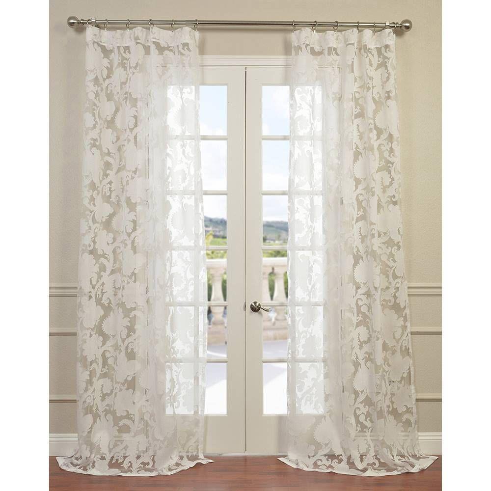 Designer sheer curtains - Exclusive Fabrics Venus White Designer Sheer Curtain Panel By Exclusive Fabrics