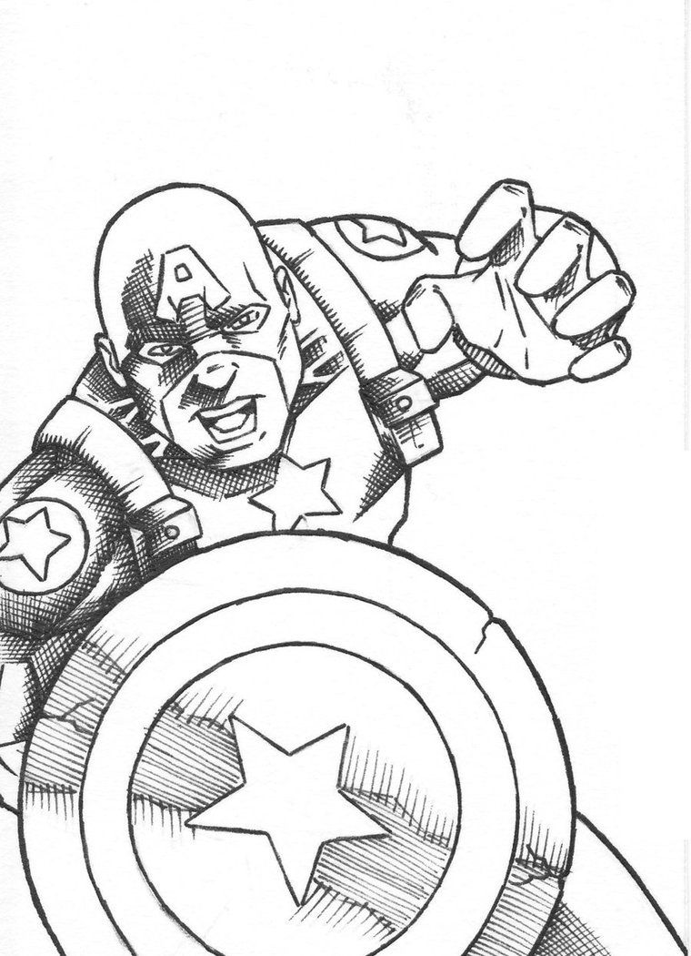 Ausmalbilder · Free Printable Superhero Captain America Coloring Pages For Kids