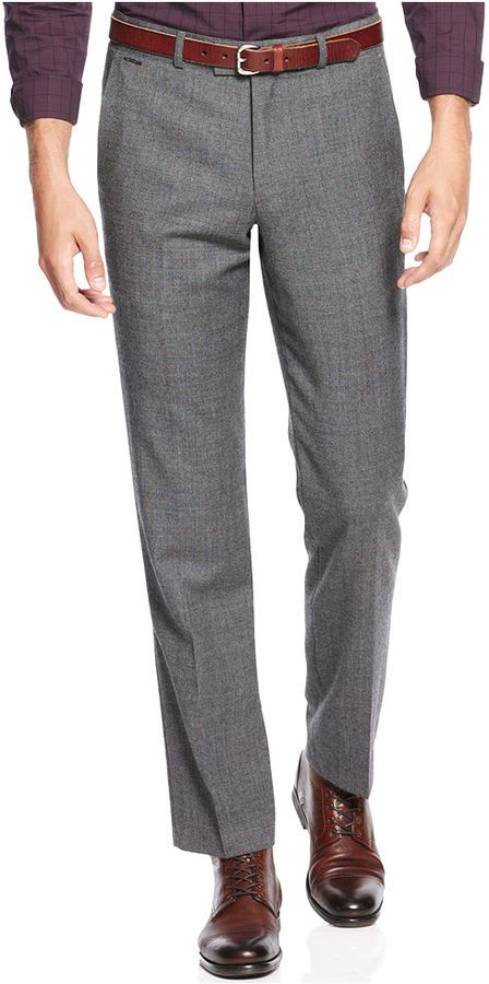 Slim Fit Notch Grey Wool Suit Pants | Shops, Wool and Wool suit