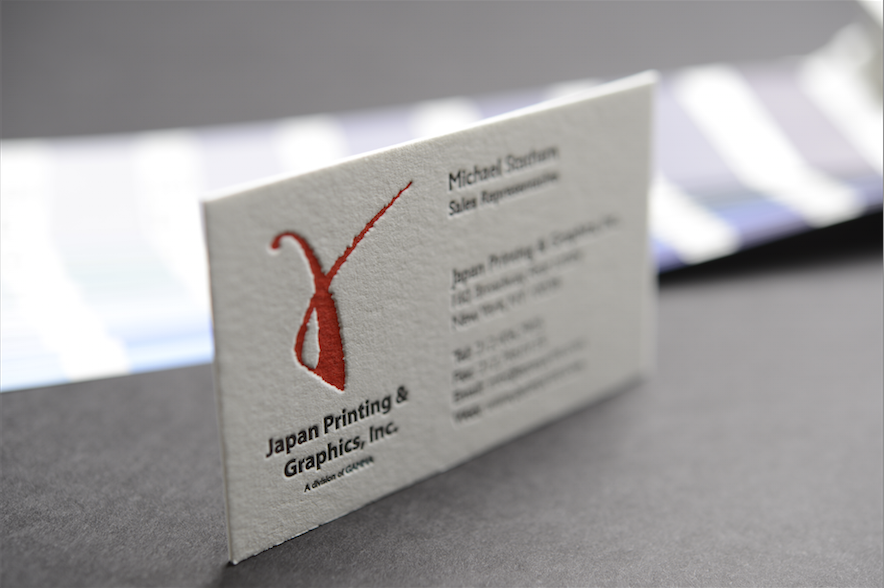 Our Business Card With Letterpress Finish Contact Us At Info Japanprint Com Or 212 High Quality Business Cards Business Card Japan Letterpress Business Cards