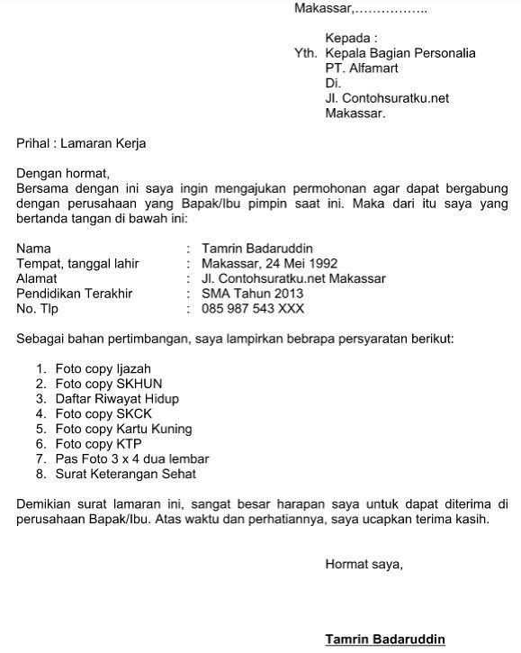 Contoh Surat Lamaran Kerja Indomaret Dan Alfamart Cute766