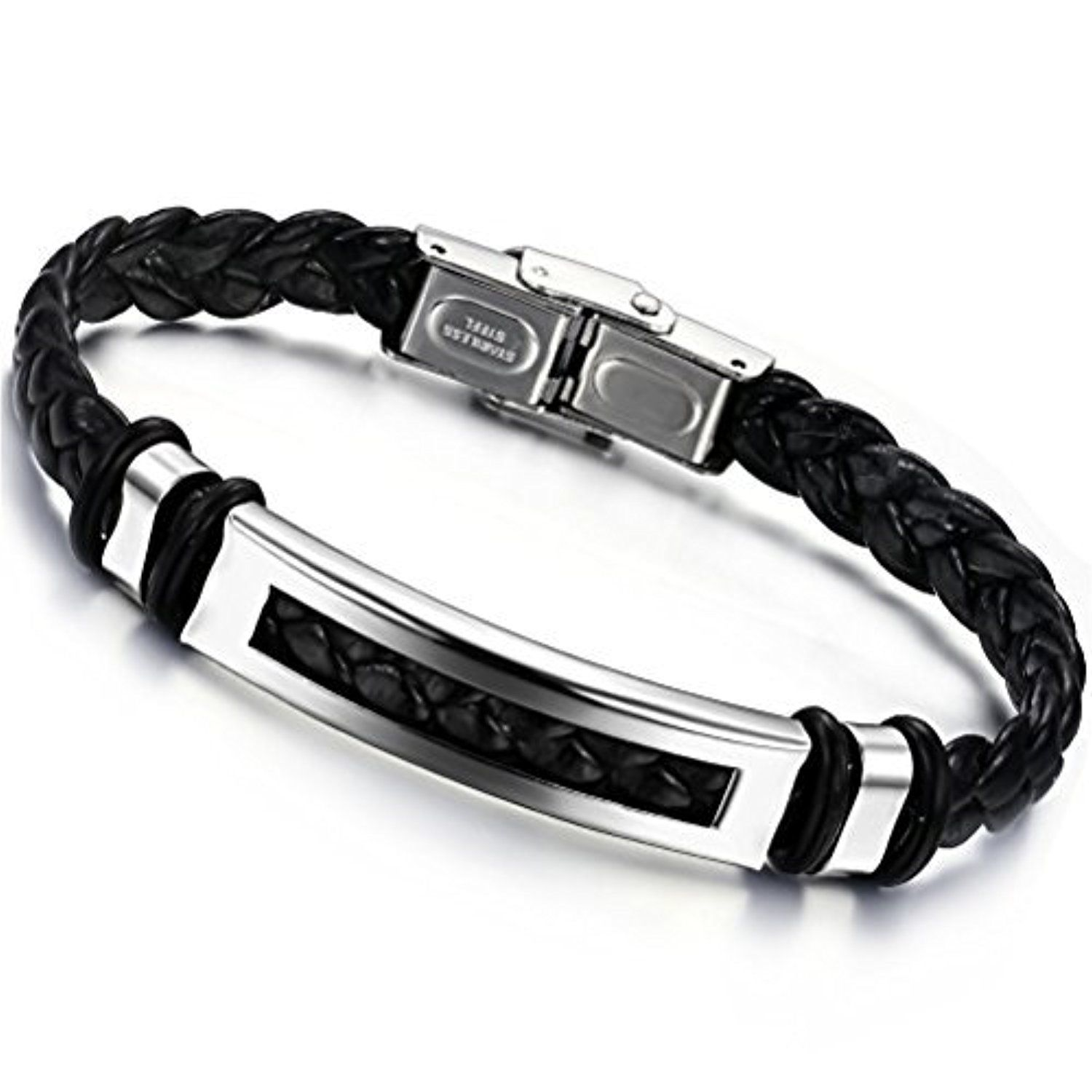 Mens titanium steel leather fashion knitted bracelet by isenretail