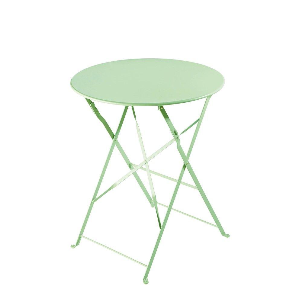 Table de jardin pliante en métal vert d\'eau D58 | Home ...