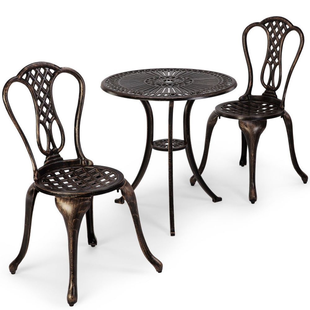 Garden Bistro Set Patio Furniture Dinning Table and Chair Set Brushed Bronze  sc 1 st  Pinterest & Garden Bistro Set Patio Furniture Dinning Table and Chair Set ...