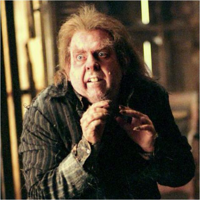 """Day 9- Your least favorite male character and why- Peter """"Wormtail"""" Pettigrew.....He was their friend. HE BETRAYED THEM!!!!!!! he's disgusting, he's a coward, and yea."""