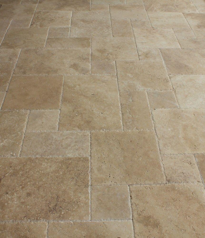 Travertine tile antique pattern sets entry floor pinterest