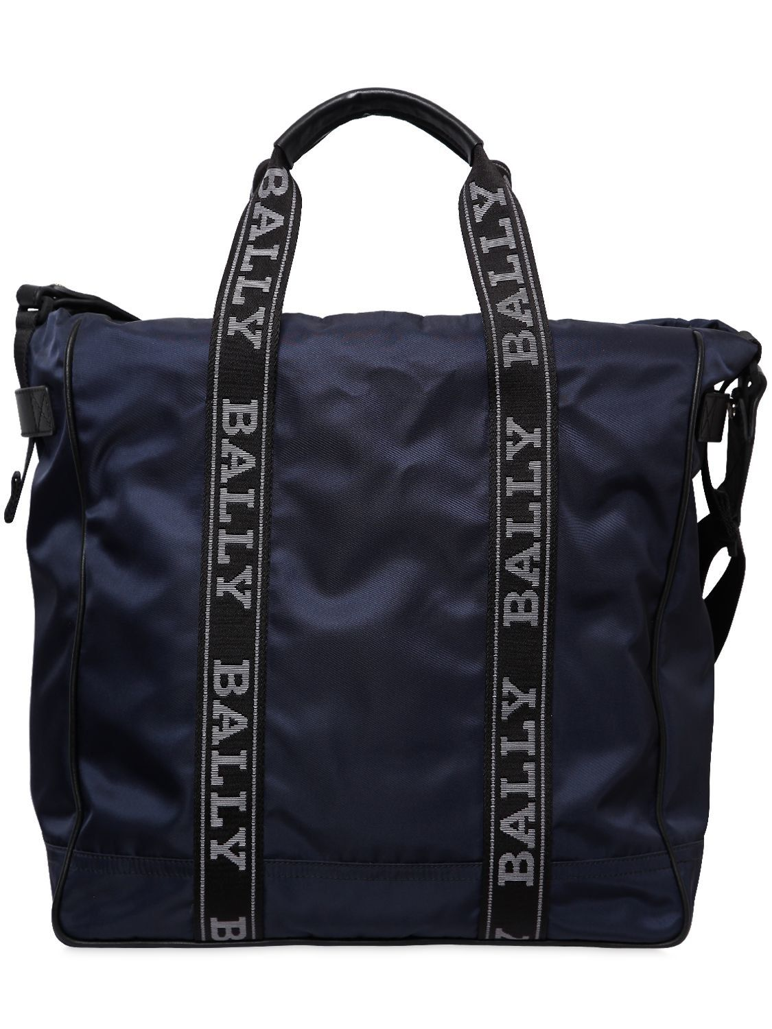 5bc8bc3707c BALLY NYLON TOTE BAG W  LOGO BANDS.  bally  bags  tote  leather  lining   shoulder bags  hand bags  nylon