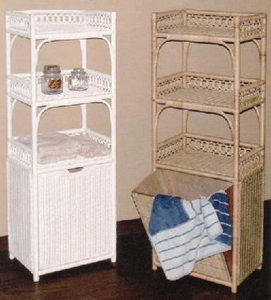 Tall Wicker Laundry Hamper With Shelves Tilt Out Bin 17 Width X