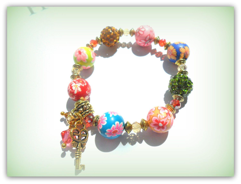 Gold Key and Star Charm Bracelet, Rainbow Colours Childrens Bracelet Kids Bracelet Polymer Clay Shamballa Bead UK Childrens Accessories by SimplyPrettyJewels on Etsy