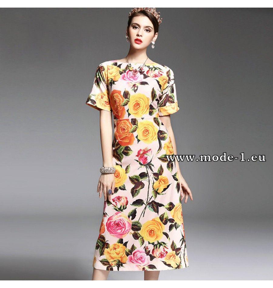 Elegantes kurzarm sommerkleid blümchenkleid blumenkleider