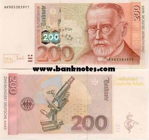 Germany 200 Deutsche Mark 1996 Medical scientist Paul