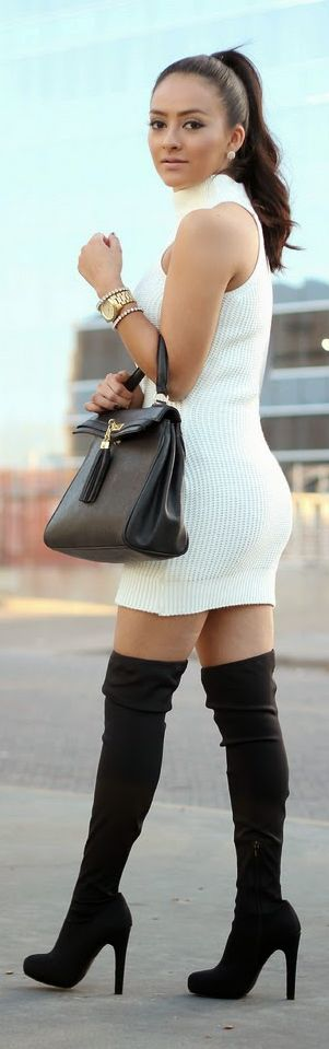 Neck Knitted Dress Streetstyle