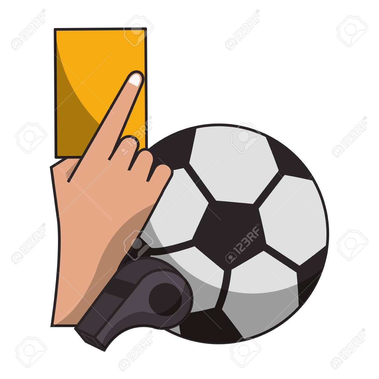 Soccer Yellow Referee Card With Ball And Whistle Sport Cartoons