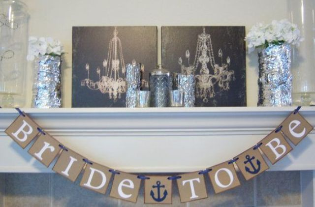 43 Chic Nautical Themed Bridal Shower Ideas Nautical Theme Bridal Shower Bridal Shower Banner Bridal Shower Decorations