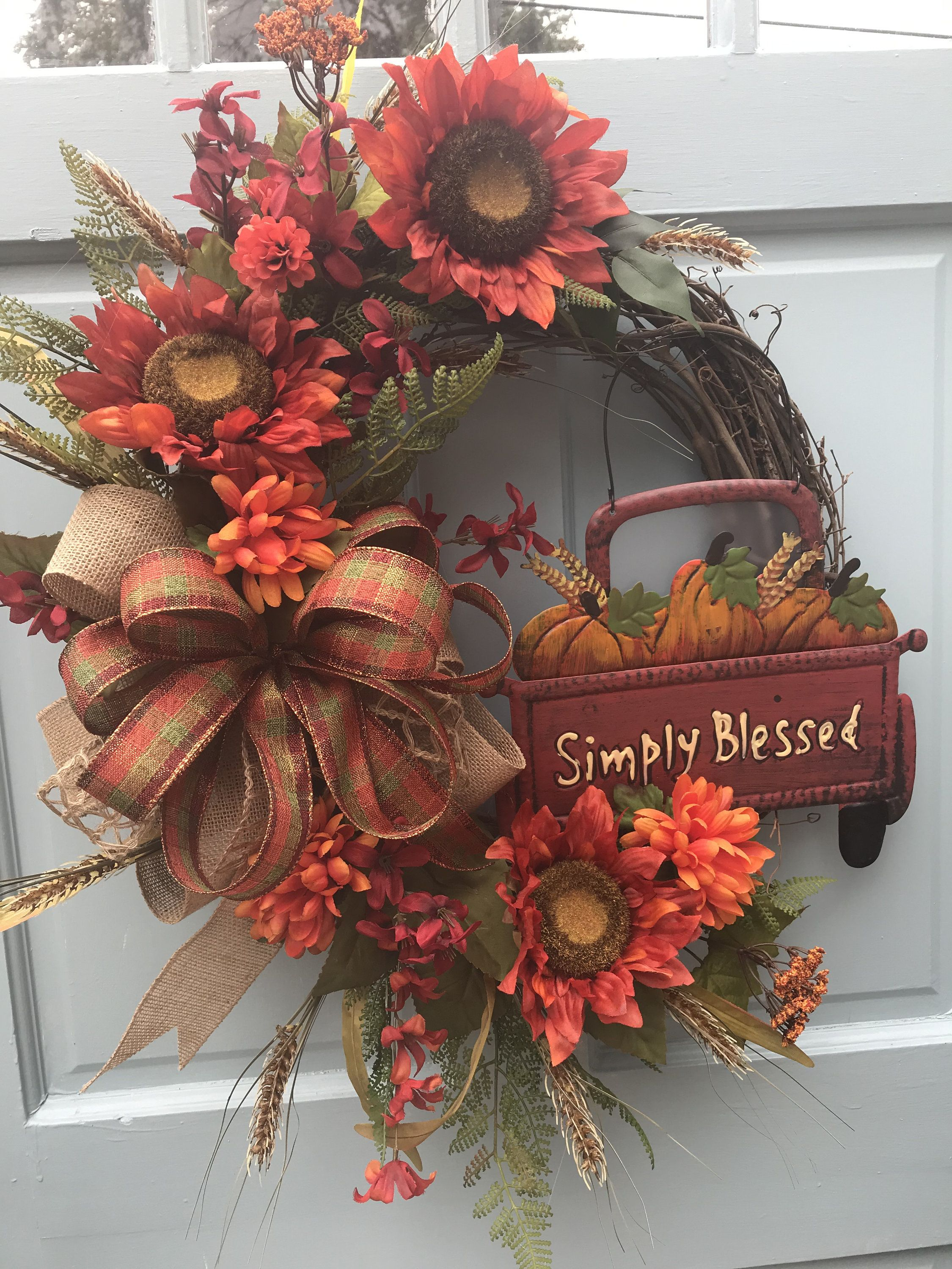 Photo of Fall Red Truck with pumpkins wreath for front door, Autumn  Floral Grapevine Wreath for Door, Friends wreath for front door, pumpkin wreath,