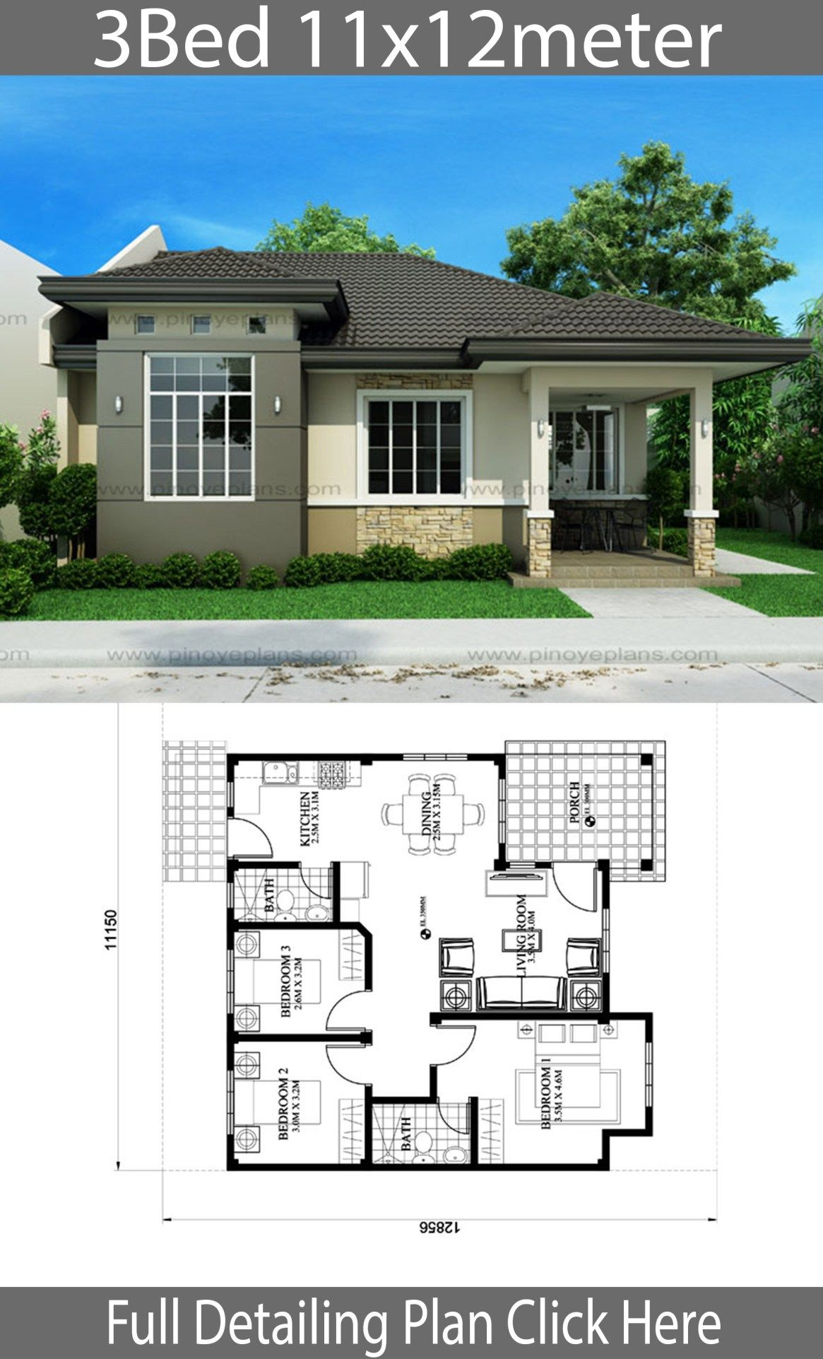 House Design 11x12m With 3 Bedrooms Home Design With Plansearch Bungalow House Design House Plan Gallery Affordable House Plans