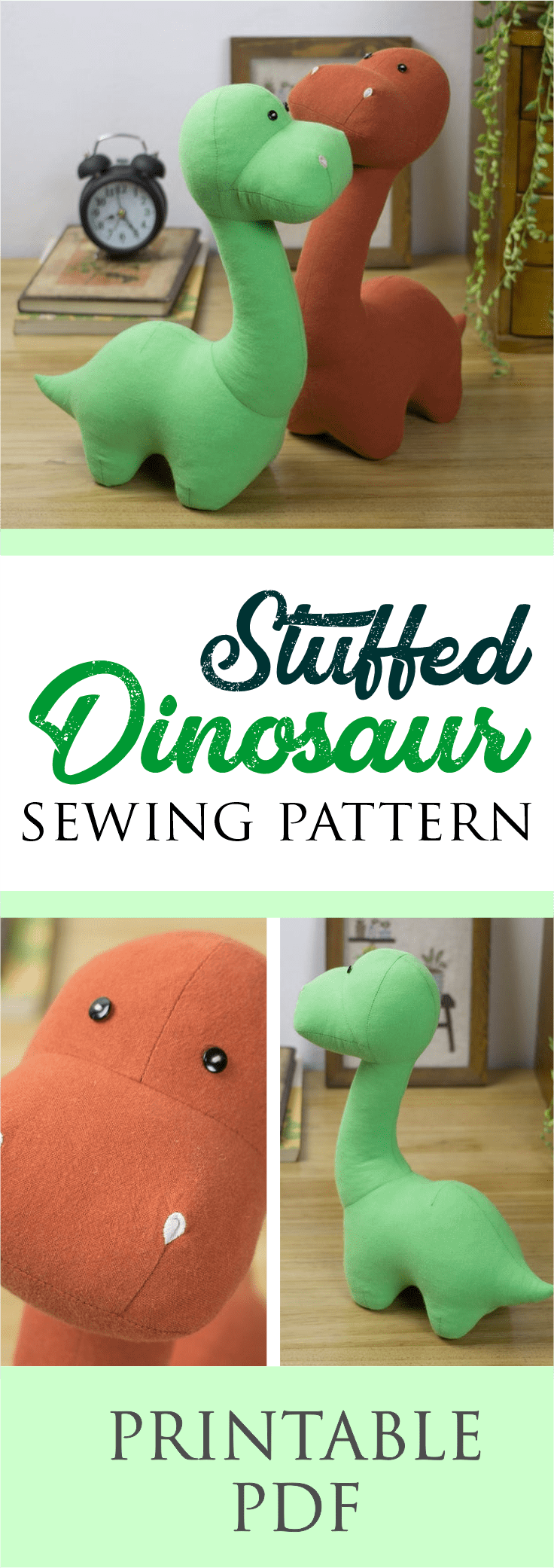 Stuffed Dinosaur Sewing Pattern | Instantly Downloadable PDF