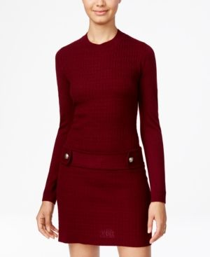 Bcx Juniors' Embellished Cable-Knit Sweater Dress - Red L