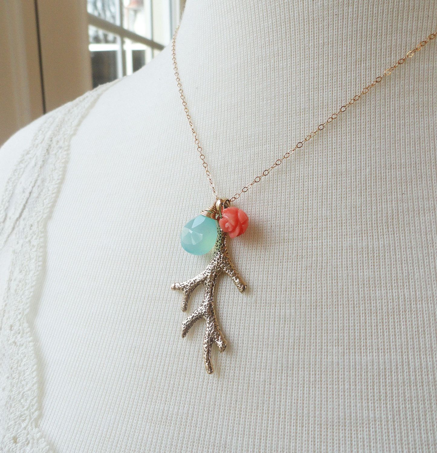 Turquoise and coral necklace, Coral branch necklace, coral jewelry ...