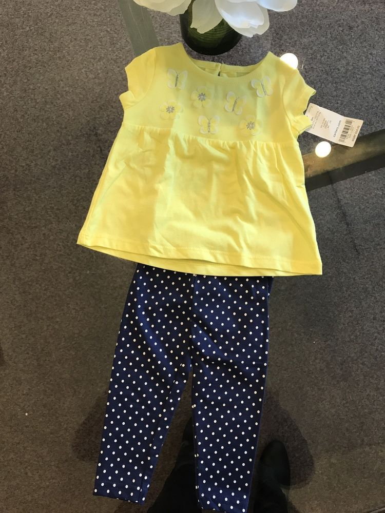 9ec04b277555 Carter s Girls Yellow and Navy Pant Outfit size 6 months BNWT! Orig ...