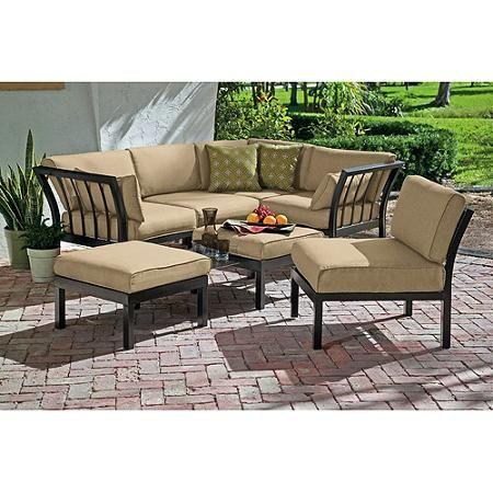 Ragan Meadow 7Piece Outdoor Sectional Sofa Set Seats 5 Walmart