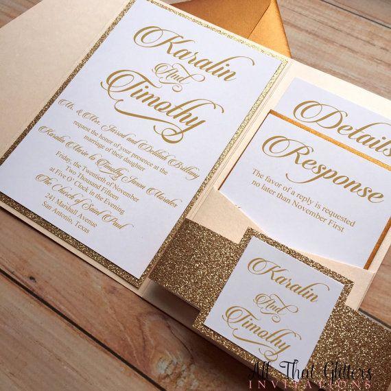 Schön Glitter Wedding Invitation Rose Gold Glitter Von ATGInvitations · Einladungskarten  HochzeitPocketfold ...