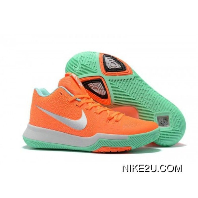 9c023988d985 New Nike Kyrie 3 Orange Silver Green Basketball Shoes Discount   basketballshoes