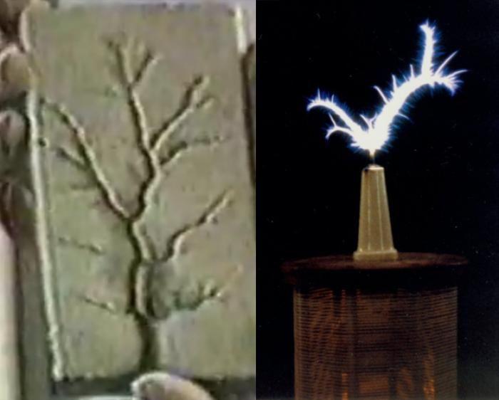 La forma en que la izquierda ha sido grabado en madera por una bobina de Tesla. El derecho es el tipo especial de electricidad Tesla descubrió en su forma cruda pura. Note la forma orgánica.