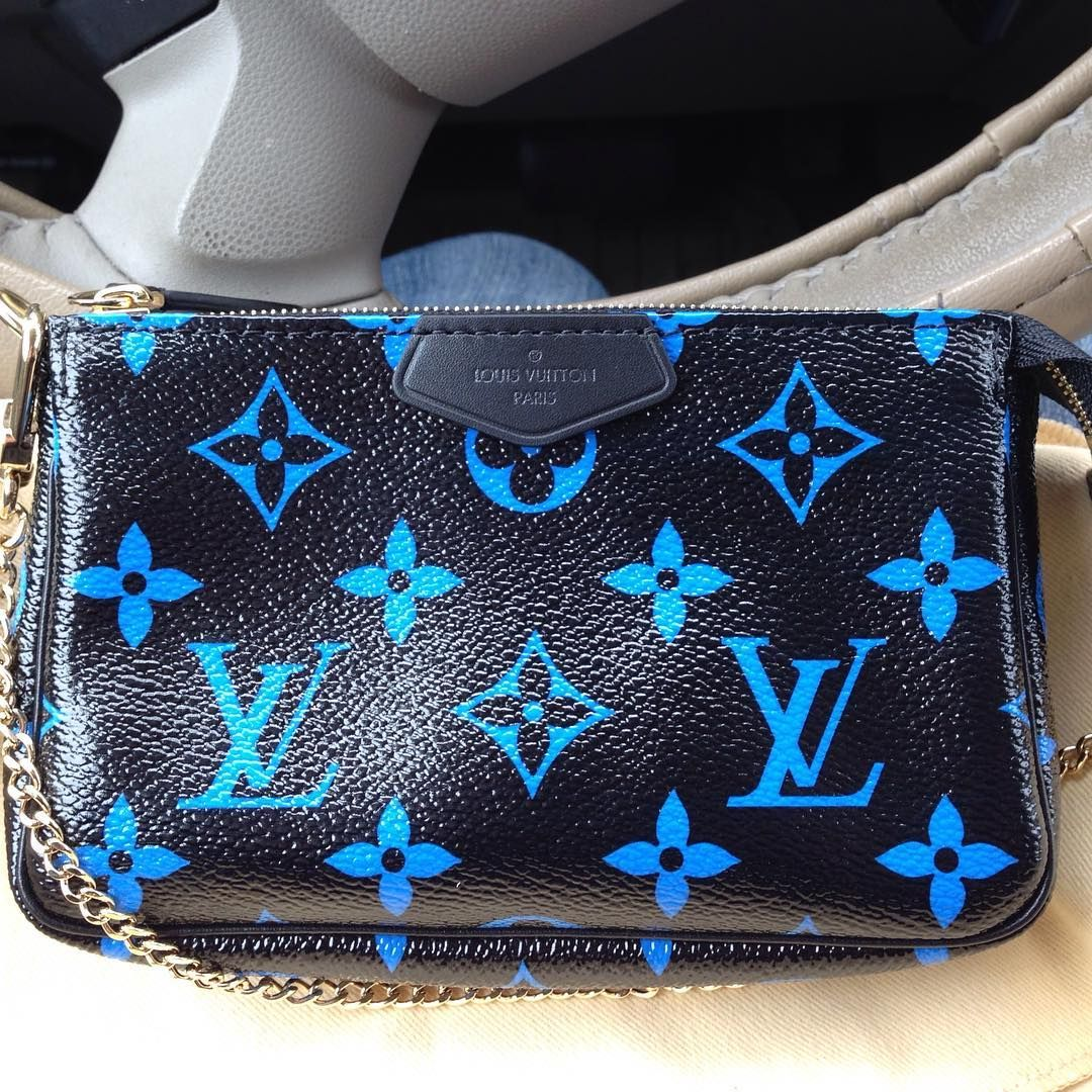 d857dd276405 €300 Louis Vuitton Mini Pochette blue monogram from the new collection SS16  black and blue combination and black velvet interior with gold hardware