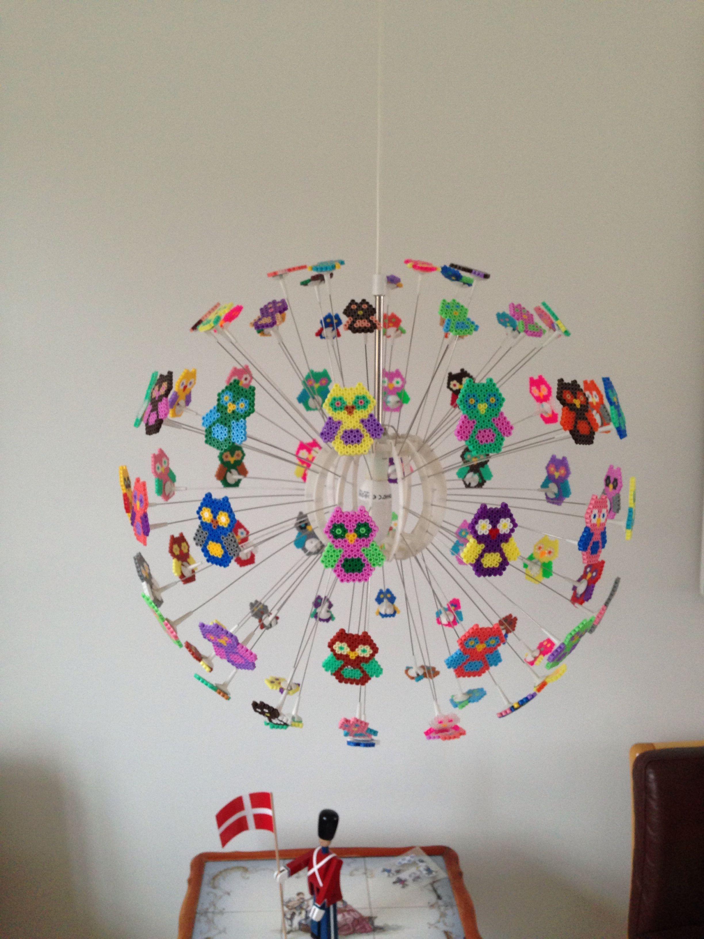 Hama beads lamp with owl IKEA lamp diy #IkeaLamp (med bilder